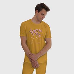Пижама хлопковая мужская Весна 2020 цвета горчичный — фото 2
