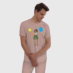 Пижама хлопковая мужская Thoughts of Leonard цвета пыльно-розовый — фото 2