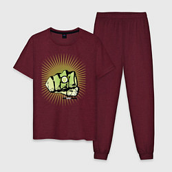 Пижама хлопковая мужская Big Bang Theory цвета меланж-бордовый — фото 1