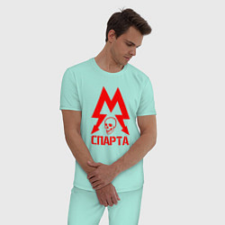 Пижама хлопковая мужская METRO СПАРТА цвета мятный — фото 2