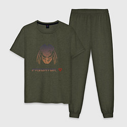 Пижама хлопковая мужская Predator Hunting Grounds цвета меланж-хаки — фото 1