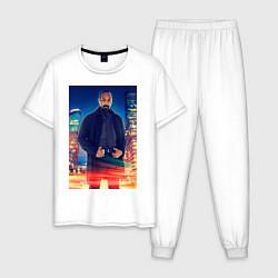 Пижама хлопковая мужская Joe West цвета белый — фото 1