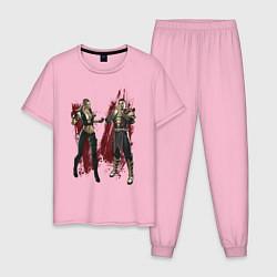 Пижама хлопковая мужская Sonya Blade and Shang Tsung цвета светло-розовый — фото 1