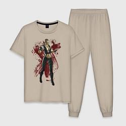 Пижама хлопковая мужская Sonya Blade цвета миндальный — фото 1