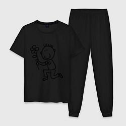 Пижама хлопковая мужская Человечки с цветком парная муж цвета черный — фото 1