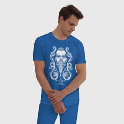 Пижама хлопковая мужская Assassin's Creed Valhalla цвета синий — фото 2