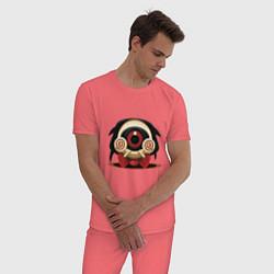 Пижама хлопковая мужская Пила цвета коралловый — фото 2