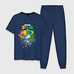 Пижама хлопковая мужская Brawl Stars Leon Trio цвета тёмно-синий — фото 1