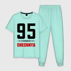 Пижама хлопковая мужская 95 Chechnya цвета мятный — фото 1