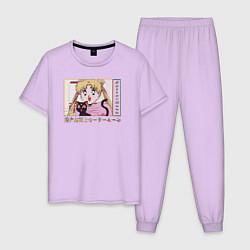 Пижама хлопковая мужская Sailor Moon Usagi Tsukino Luna цвета лаванда — фото 1