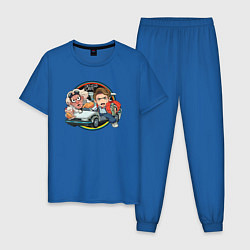 Пижама хлопковая мужская Back to the Future цвета синий — фото 1