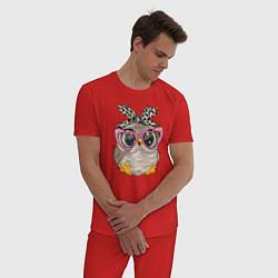 Пижама хлопковая мужская Милая сова на облачках цвета красный — фото 2