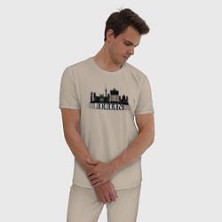 Пижама хлопковая мужская Берлин цвета миндальный — фото 2