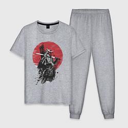 Пижама хлопковая мужская Японский самурай цвета меланж — фото 1