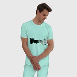 Пижама хлопковая мужская Амбиграмма Иллюминати цвета мятный — фото 2