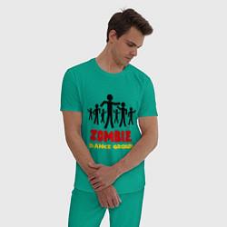 Пижама хлопковая мужская Zombie dance group цвета зеленый — фото 2
