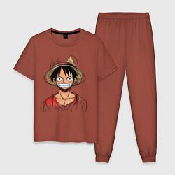 Пижама хлопковая мужская Манки цвета кирпичный — фото 1