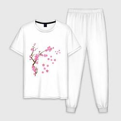 Пижама хлопковая мужская Розовая сакура цвета белый — фото 1
