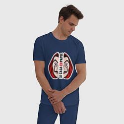 Пижама хлопковая мужская La Casa de Papel Z цвета тёмно-синий — фото 2
