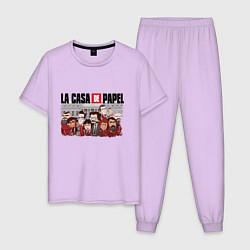 Пижама хлопковая мужская La Casa de Papel Z цвета лаванда — фото 1