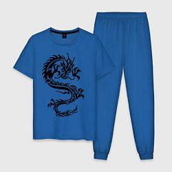 Пижама хлопковая мужская Дракон орнамент цвета синий — фото 1