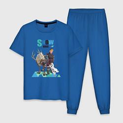 Пижама хлопковая мужская Snow Bros цвета синий — фото 1