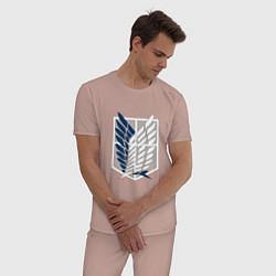 Пижама хлопковая мужская Символ разведки цвета пыльно-розовый — фото 2