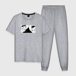 Пижама хлопковая мужская Ahegao цвета меланж — фото 1