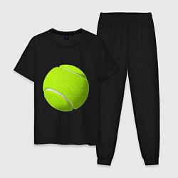 Пижама хлопковая мужская Теннис цвета черный — фото 1