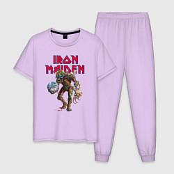 Пижама хлопковая мужская Iron Maiden цвета лаванда — фото 1