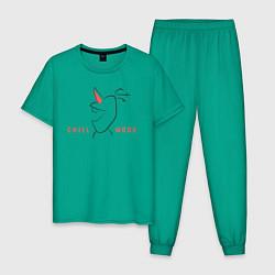 Пижама хлопковая мужская Olaf: Chill Mode цвета зеленый — фото 1