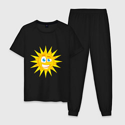 Пижама хлопковая мужская Летнее солнце цвета черный — фото 1
