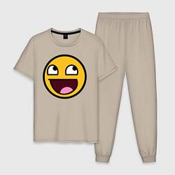 Пижама хлопковая мужская Смайл цвета миндальный — фото 1
