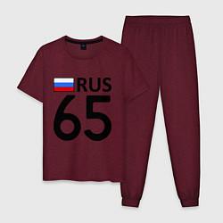Пижама хлопковая мужская RUS 65 цвета меланж-бордовый — фото 1
