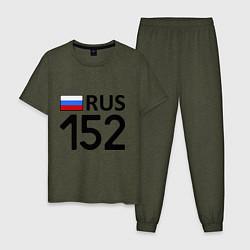 Пижама хлопковая мужская RUS 152 цвета меланж-хаки — фото 1