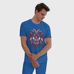 Пижама хлопковая мужская Лев цвета синий — фото 2