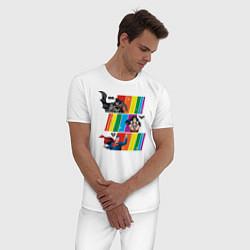 Пижама хлопковая мужская Justice League Rainbow цвета белый — фото 2