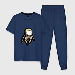 Пижама хлопковая мужская Fall guys skeleton цвета тёмно-синий — фото 1