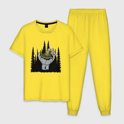Пижама хлопковая мужская Гость из космоса цвета желтый — фото 1