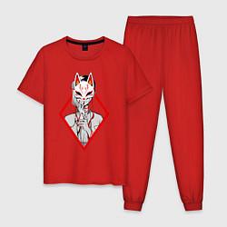 Пижама хлопковая мужская Женщина в маске цвета красный — фото 1