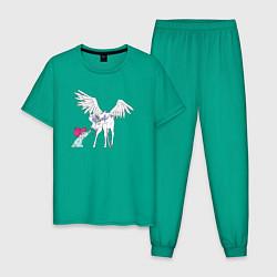 Пижама хлопковая мужская Малышка Усаги и Пегас цвета зеленый — фото 1
