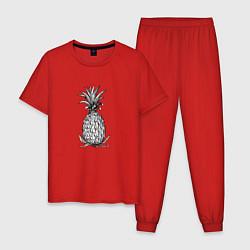 Пижама хлопковая мужская Ананас Моргенштерна цвета красный — фото 1