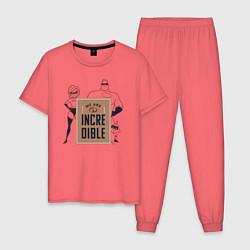 Пижама хлопковая мужская Incredibles цвета коралловый — фото 1