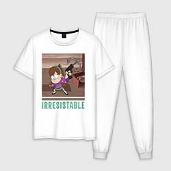 Пижама хлопковая мужская Мэйбл Пайнс цвета белый — фото 1