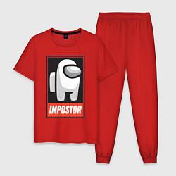 Пижама хлопковая мужская Among Us цвета красный — фото 1