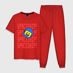 Пижама хлопковая мужская Spaceship цвета красный — фото 1