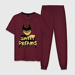 Пижама хлопковая мужская Bendy And The Ink Machine цвета меланж-бордовый — фото 1