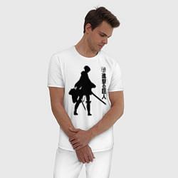 Пижама хлопковая мужская Атака на титанов цвета белый — фото 2