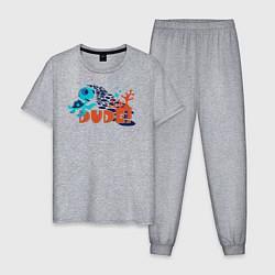 Пижама хлопковая мужская Dude цвета меланж — фото 1