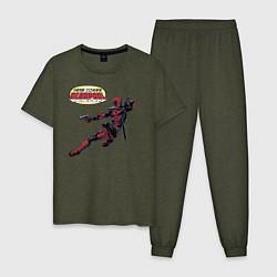 Пижама хлопковая мужская Deadpool цвета меланж-хаки — фото 1